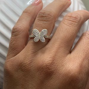 Butterfly Sterling Silver Ring Size 6